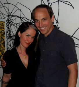 LA author CHRISTA FAUST [Butch Fatale] sparkled the party and offered props to organizer-and-exhibit- one-of-urbane-cool, ERIC BEETER, (The Devil Doesn't Want Me).